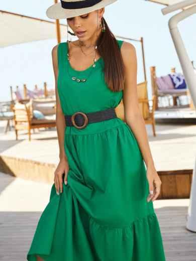 Хлопковое платье свободного кроя без рукавов зеленое 54220, фото 1