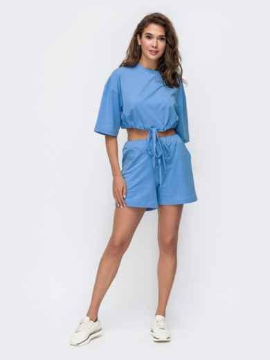 Комплект голубого цвета с шортами на кулиске   49349, фото 1