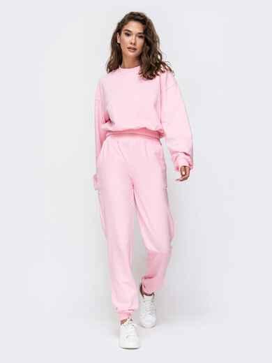 Комплект в спортивном стиле розового цвета  49350, фото 1