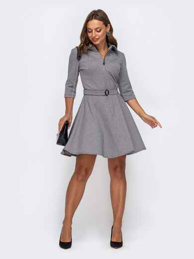 Расклешенное платье с узором «гусиная лапка» серое 50507, фото 1