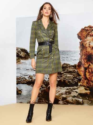 Трикотажное платье-пиджак цвета хаки в клетку - 42369, фото 1 – интернет-магазин Dressa