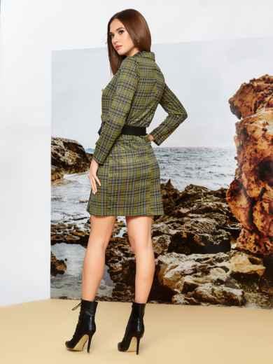 Трикотажное платье-пиджак цвета хаки в клетку - 42369, фото 2 – интернет-магазин Dressa