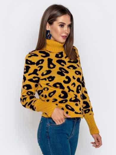 Вязаный свитер с анималистичным узором горчичный - 41142, фото 2 – интернет-магазин Dressa