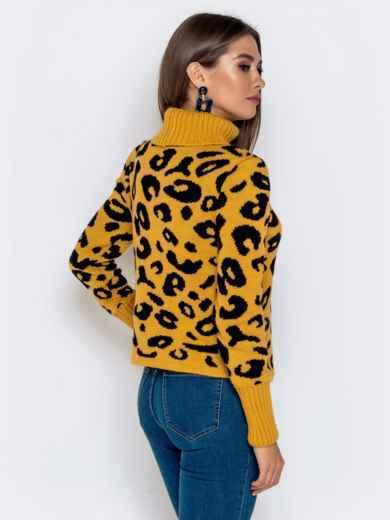 Вязаный свитер с анималистичным узором горчичный - 41142, фото 3 – интернет-магазин Dressa