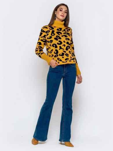 Вязаный свитер с анималистичным узором горчичный - 41142, фото 4 – интернет-магазин Dressa