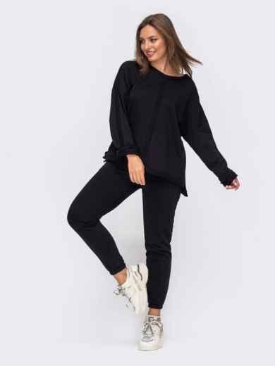 Спортивный костюм чёрного цвета из худи и брюк 51049, фото 1