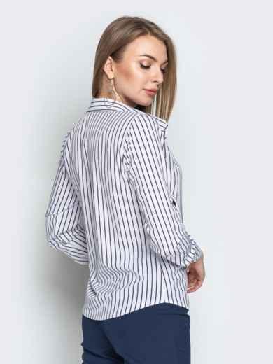Белая блузка в полоску с супатной застежкой 20875, фото 3