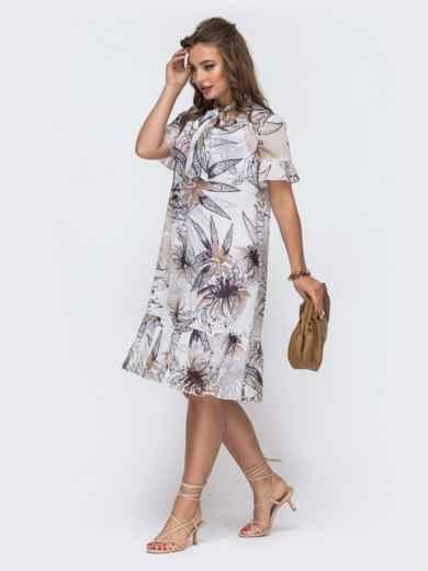 Белое платье-трапеция с принтом и воланом по низу 48079, фото 3