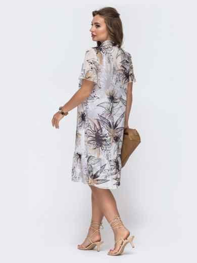 Белое платье-трапеция с принтом и воланом по низу 48079, фото 4