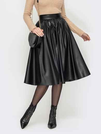 Черная юбка-полусолнце из экокожи 53091, фото 1