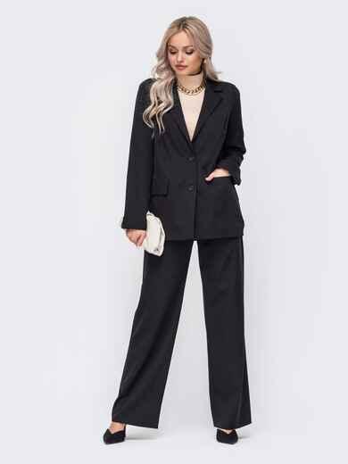 Черный костюм с пиджаком и брюками 51048, фото 1