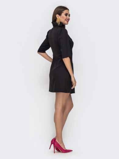 Платье на запах с воланом по вырезу чёрное 42923, фото 3