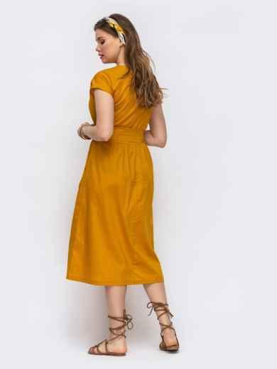 Расклешенное платье с цельнокроеным рукавом желтое 47479, фото 2