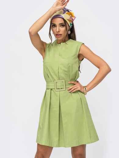Зелёное платье-трапеция со встречной складкой по полочке 53944, фото 1