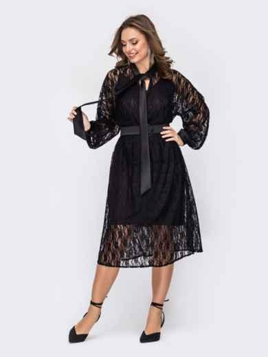 Свободное платье из кружева с воротником-аскот чёрное 52342, фото 1
