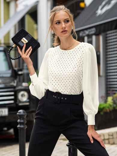 Блузка из прошвы с шифоновыми рукавами молочная 49494, фото 1