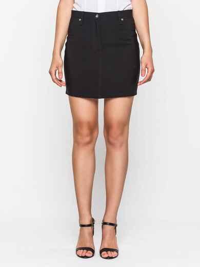 Чёрная юбка-мини из костюмной ткани 38292, фото 1