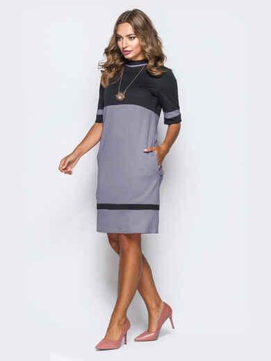 Двухцветное платье из французского трикотажа без застёжек серое 52804, фото 1