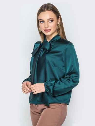 Шелковая блузка с воротником аскот зелёная - 19433, фото 2 – интернет-магазин Dressa
