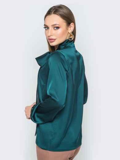 Шелковая блузка с воротником аскот зелёная - 19433, фото 3 – интернет-магазин Dressa