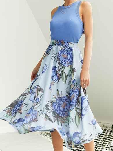 Шифоновая юбка-миди с цветочным принтом голубая 53999, фото 1