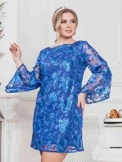 Синее платье большого размера из гипюра с пайетками 43287, фото 1