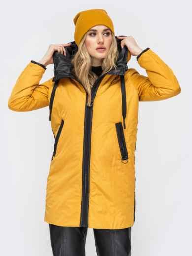 Удлиненная куртка с лампасами по бокам горчичная - 45285, фото 2 – интернет-магазин Dressa