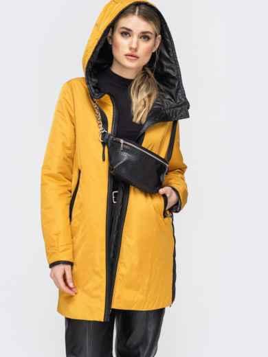 Удлиненная куртка с лампасами по бокам горчичная - 45285, фото 3 – интернет-магазин Dressa