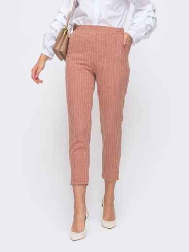 Укороченные брюки в полоску с завышенной посадкой красные 50505, фото 1