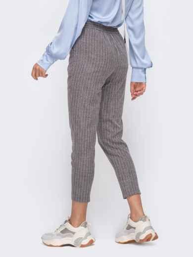Укороченные брюки в полоску с завышенной посадкой серые 50504, фото 2