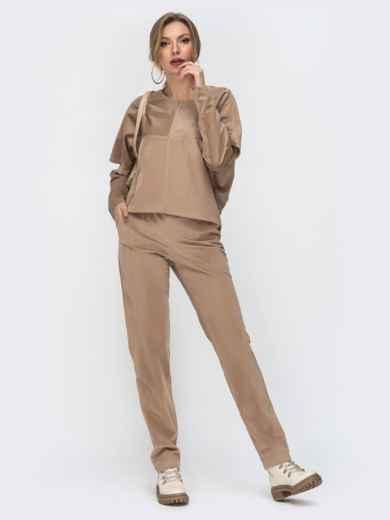 Вельветовый комплект из свитшота и брюк бежевый 44909, фото 1