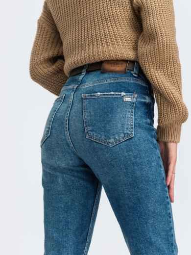 Зауженные джинсы голубого цвета с завышенной талией - 43102, фото 3 – интернет-магазин Dressa