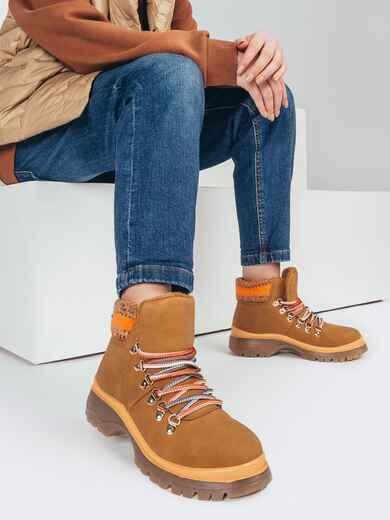 Зимние ботинки бежевого цвета с вязаной вставкой 51762, фото 1