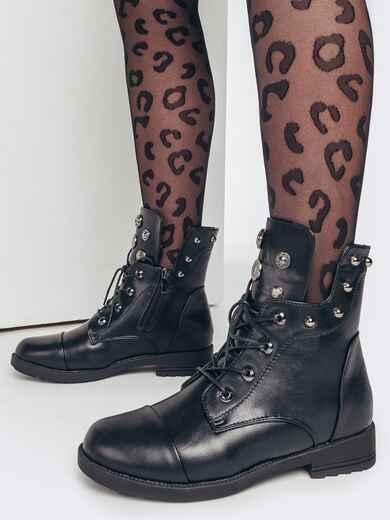 Зимние ботинки чёрного цвета с фурнитурой 51763, фото 1