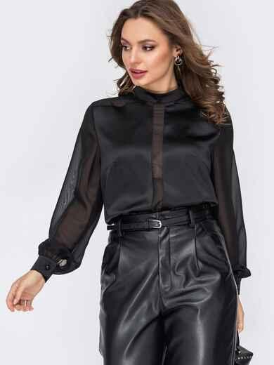 Атласная блузка прямого кроя черная 52095, фото 1