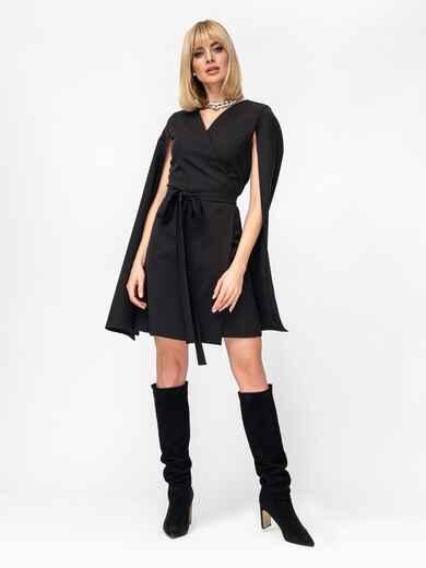 Черное платье на запах с разрезами на рукавах 52870, фото 1