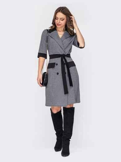 Двубортное платье-пиджак из трикотажа серое 52869, фото 1