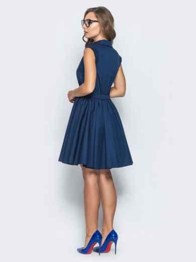 Хлопковое платье с объемной юбкой тёмно-синее - 14615, фото 3 – интернет-магазин Dressa
