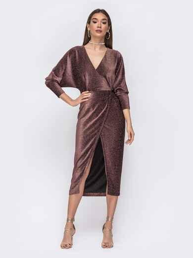 """Платье с вырезом и рукавами """"летучая мышь"""" коричневое - 42640, фото 1 – интернет-магазин Dressa"""