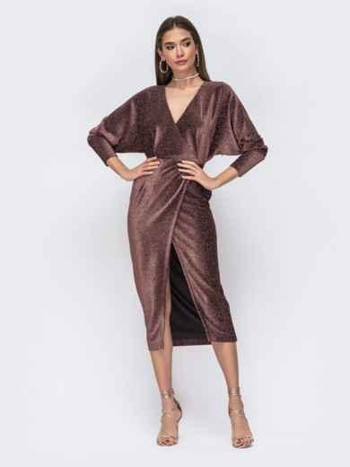 """Платье с вырезом и рукавами """"летучая мышь"""" коричневое - 42640, фото 2 – интернет-магазин Dressa"""