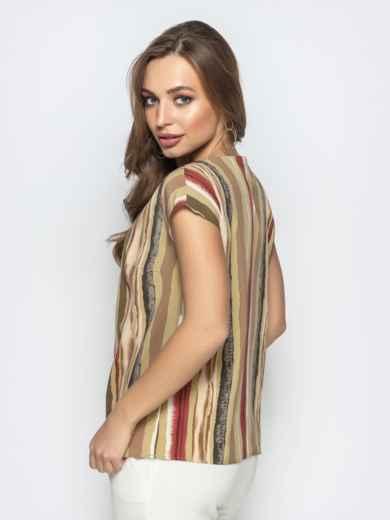 Прямая блузка из принтованного софта хаки - 22281, фото 2 – интернет-магазин Dressa