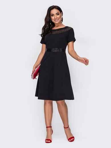 Расклешенное платье батал с пайетками по вырезу чёрное 52151, фото 1
