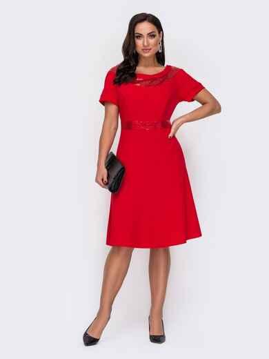 Расклешенное платье батал с пайетками по вырезу красное 52152, фото 1