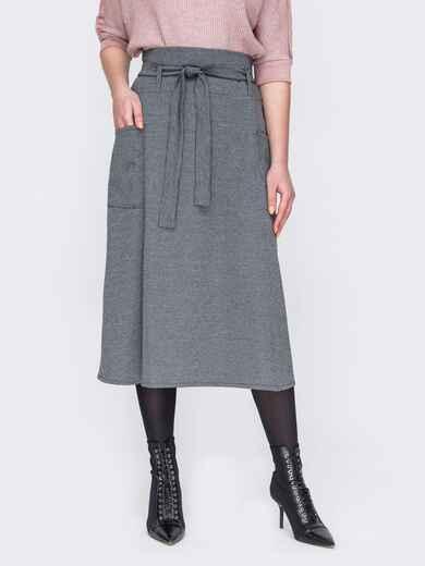 Серая юбка-трапеция с накладными карманами 52868, фото 1
