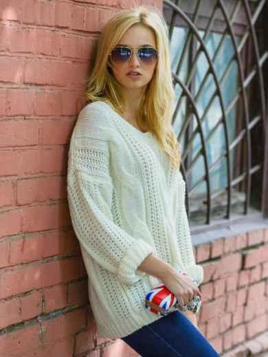 Вязаная туника со спущенным плечом белая - 13181, фото 2 – интернет-магазин Dressa