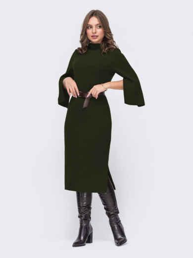 Платье приталенного силуэта с поясом цвета хаки 52652, фото 1