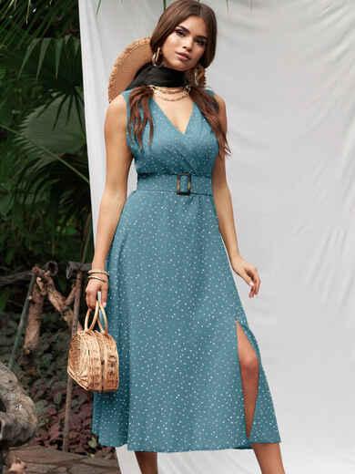 Бирюзовое платье из софта с поясом 53888, фото 1