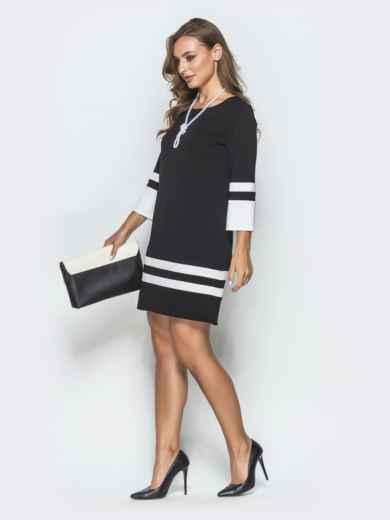 Чёрное платье-трапеция с контрастными вставками - 39826, фото 2 – интернет-магазин Dressa