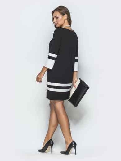 Чёрное платье-трапеция с контрастными вставками - 39826, фото 3 – интернет-магазин Dressa