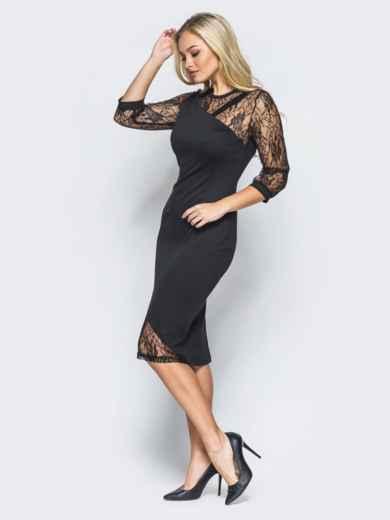 Черное трикотажное платье на молнии со вставками из гипюра - 16152, фото 2 – интернет-магазин Dressa